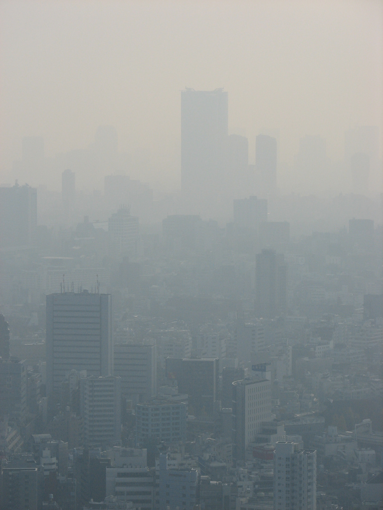 Air pollution in a city