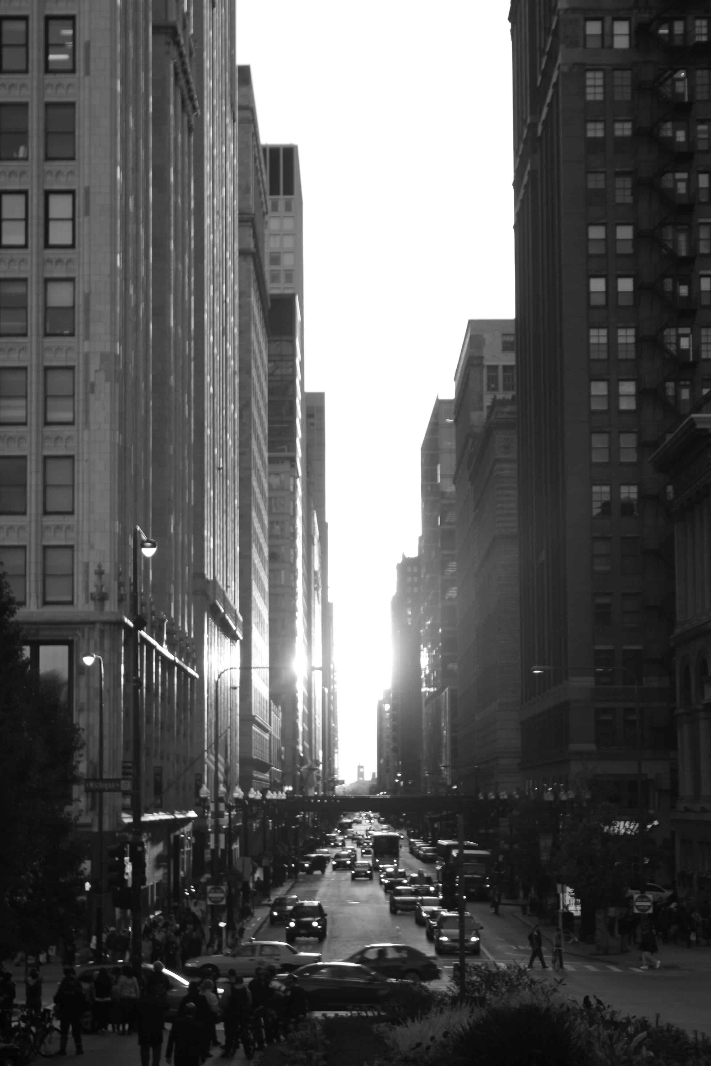 Chicago street at sunrise (black and white)